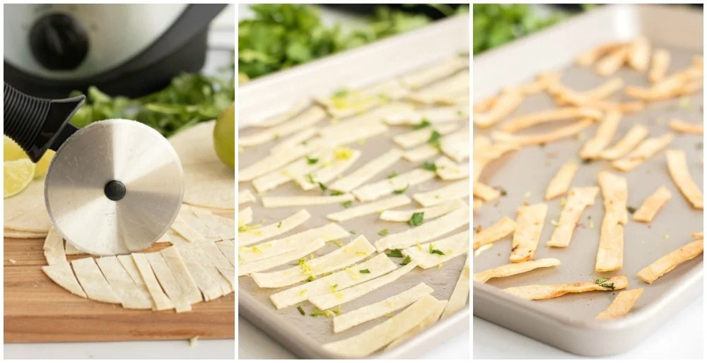 process shots of making crispy tortilla strips