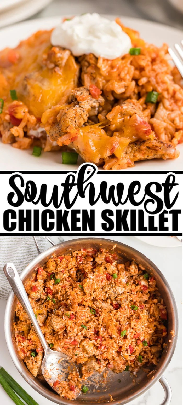 One pot and 30 minutes are all you need for this Rotel Southwest Chicken Skillet! Big flavor without a lot of effort. | www.persnicketyplates.com #chicken #chickendinner #skilletmeal #southwest #comfortfood #30minutemeal #easyrecipe