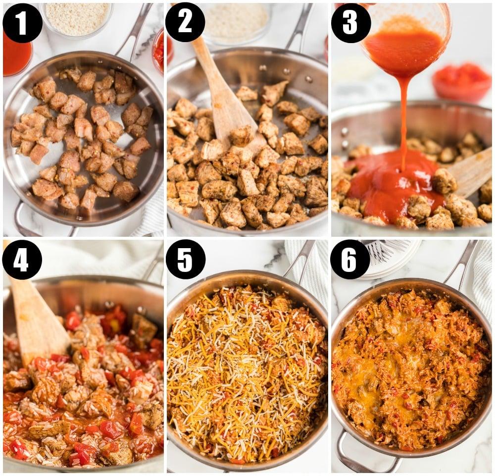 process shots of making skillet chicken