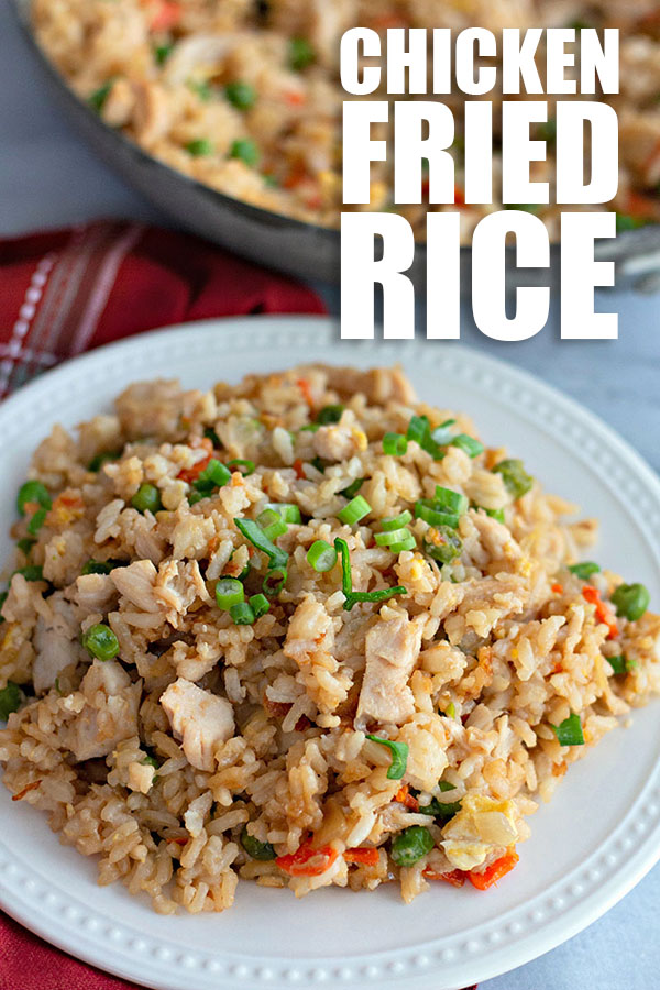fried rice on plate with title text