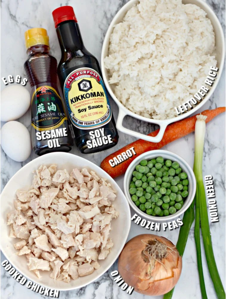 ingredients laid out to make fried rice