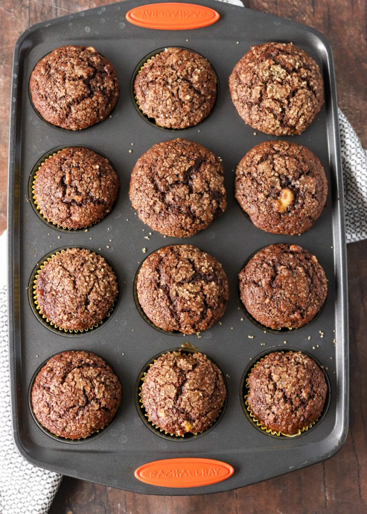 overhead shot of chocolate muffins in a baking pan