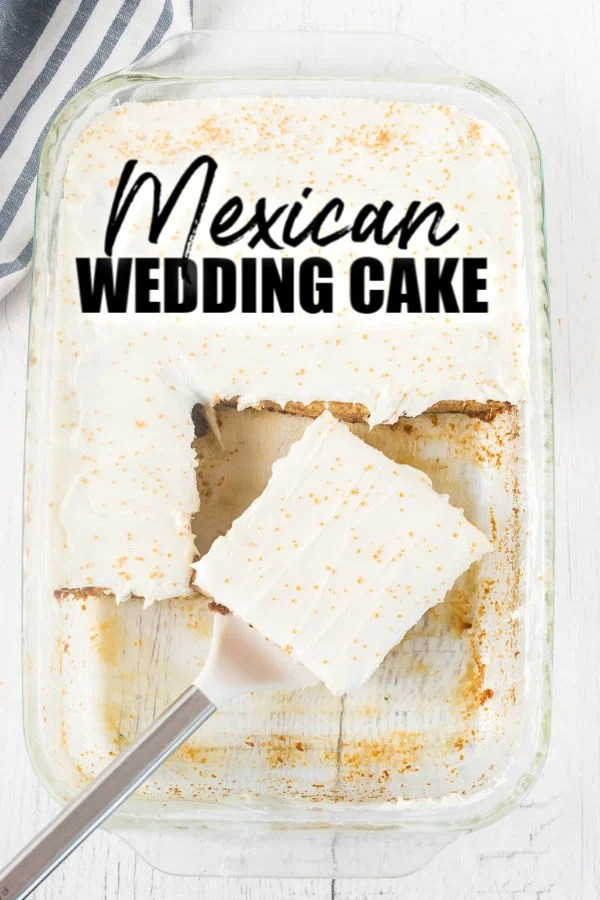 overhead shot of slice of mexican wedding cake