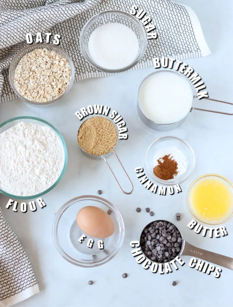 baking ingredients laid out to make quick bread