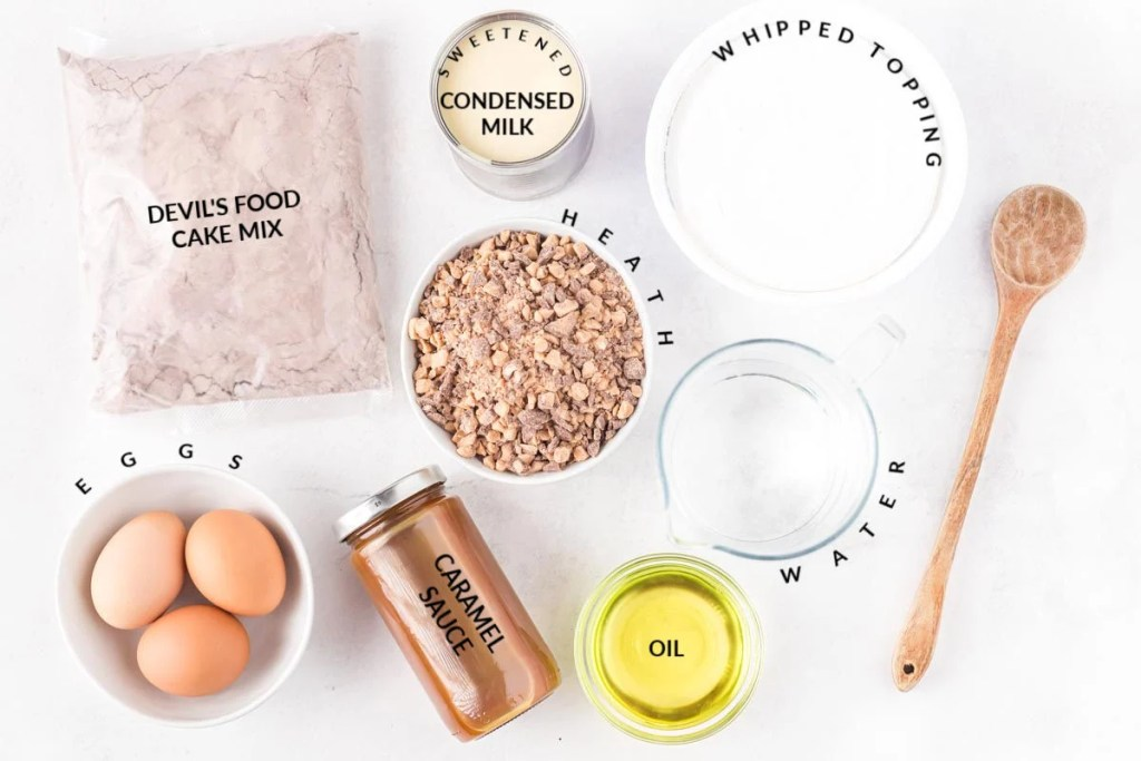 overhead shot of better than sex cake ingredients