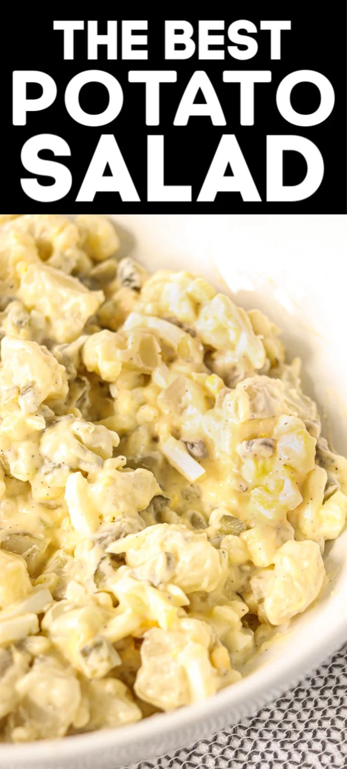 My favorite potato salad recipe is filled with eggs, sweet pickles, and slaw dressing that gives it a unique twist. I've been making it for years & it's always a hit! | www.persnicketyplates.com