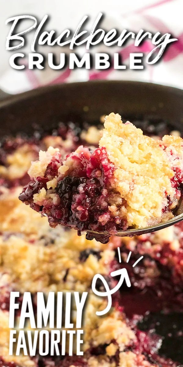 This skillet Blackberry Crumble is loaded with juicy berries and topped with a sweet crunchy buttery topping. Serve it warm with a scoop of vanilla ice cream and enjoy any night of the week! | www.persnicketyplates.com