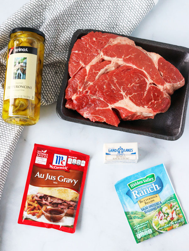 ingredients laid out to make mississippi pot roast