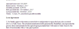 First page of loan agreement for a friend