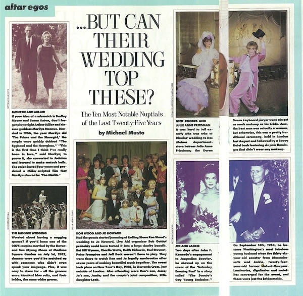 """The Ten Most Notable Nuptials Of The Last Twenty-Five years"" by Michael Musto"