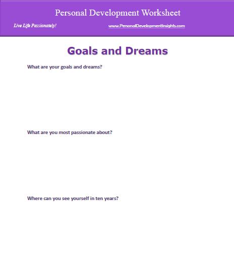 Personal Development Worksheets Free