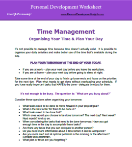 Personal Development Worksheet for Time Management