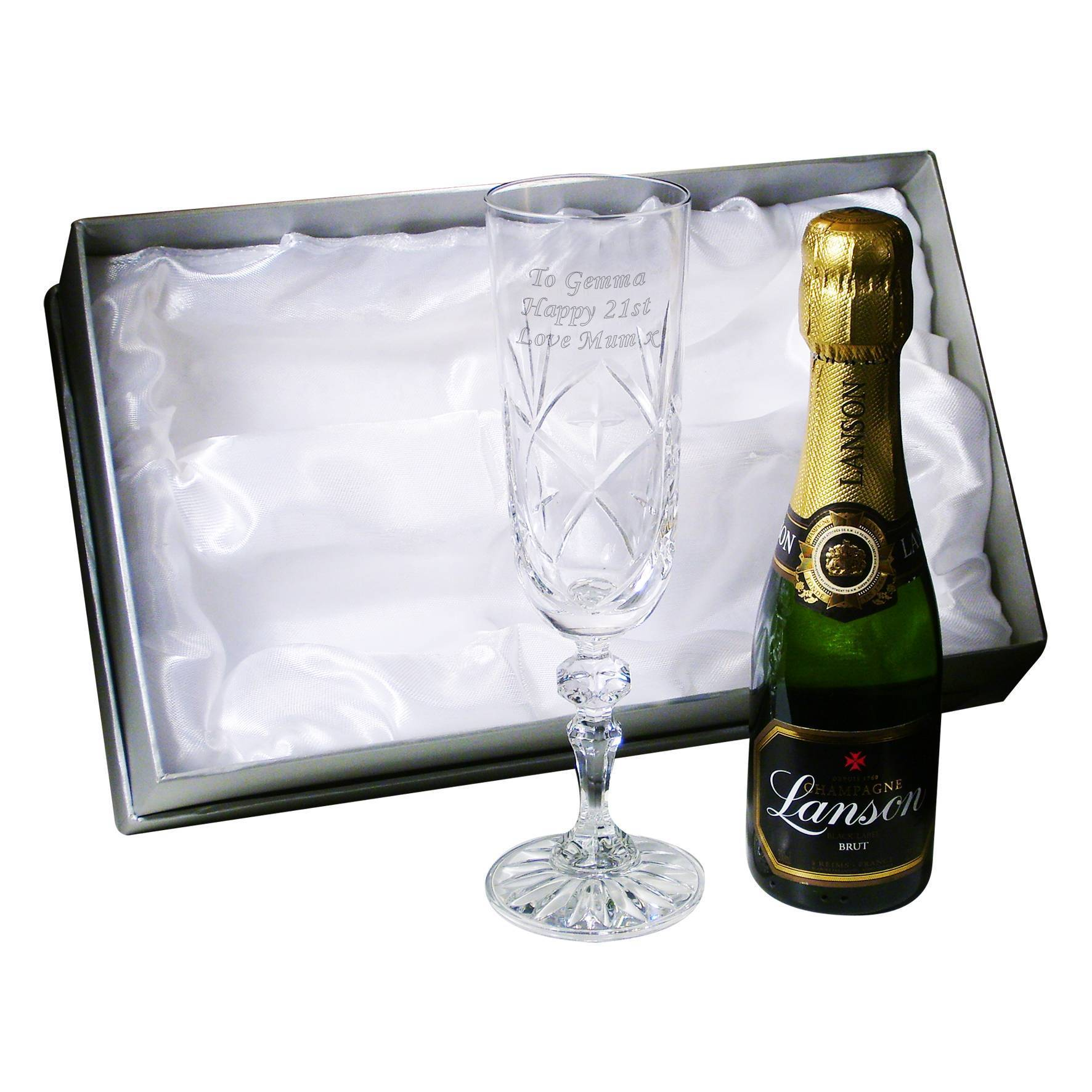 Personalised Crystal And Miniature Champagne Set