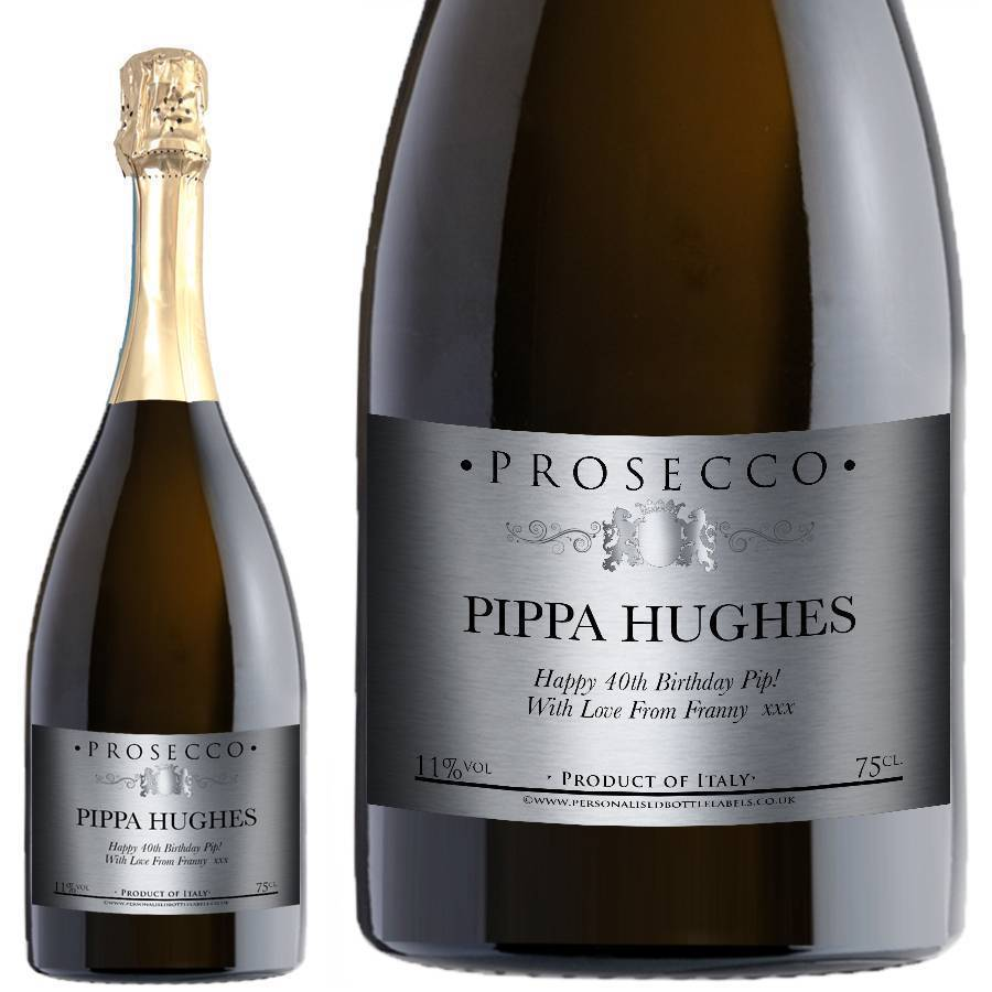 Personalised Prosecco Traditional Silver Label For Any