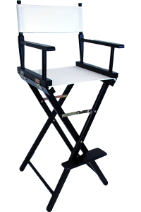 The Tall Directors Chair in Black Wood with a White Canvas ...