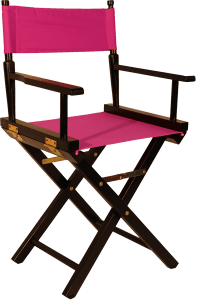 The Original Directors Chair in Black Wood with a Pink ...