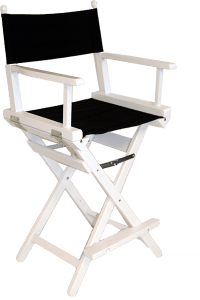 The Pro Make Up Chair in White Wood with a Black Canvas ...