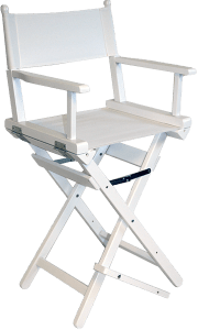 The Pro Make Up Chair in White Wood with a White Canvas