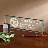 Personalized Glass Desk Nameplate - Legal Design - 2378