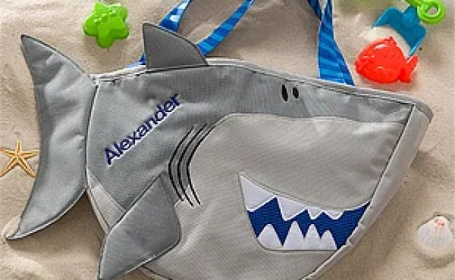 Personalized Shark Beach Tote Bag With Beach Toy Set