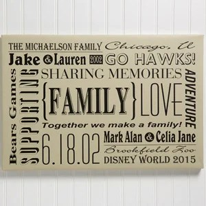 personalized family canvas print