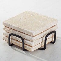 Tumbled Stone Coaster Holder - Black Metal