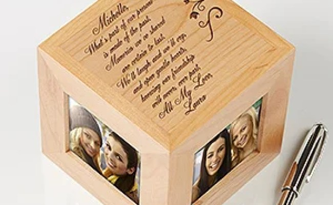 Engraved Friendship Wood Photo Cube Picture Frames