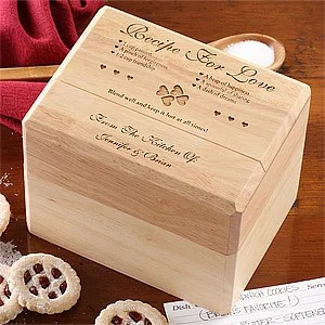 Engraved Wood Recipe Box And Cards Recipe For Love