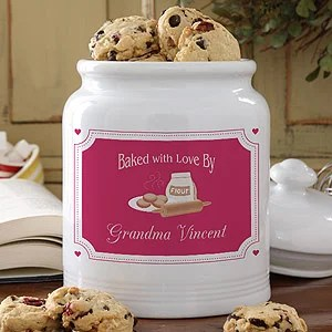 Personalized Ceramic Cookie Jar - Baked With Love Design - 5319