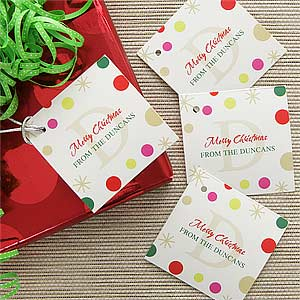 Personalized Gift Tags Festive Monogram