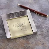 Personalized Silver Post-It Holder With Monogram - 3723