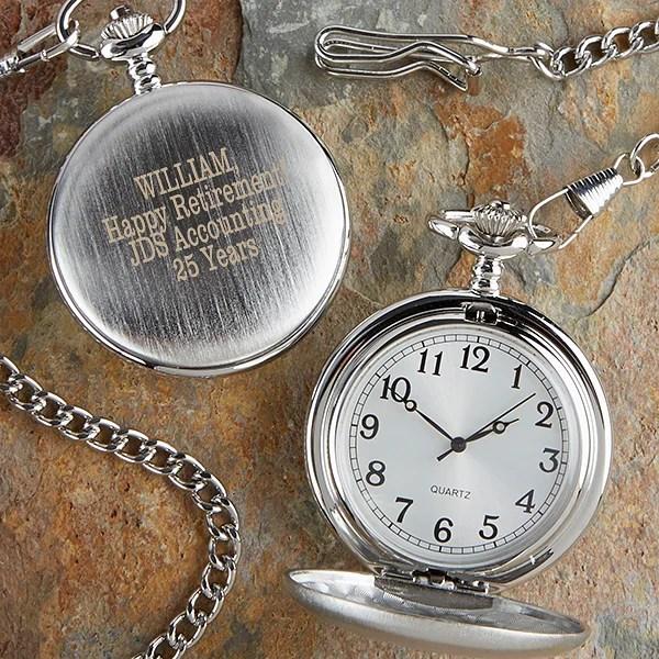 retirement engraved silver pocket