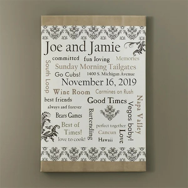 personalized wedding gift canvas