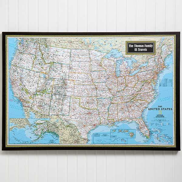 A map legend is a side table or box on a map that shows the meaning of the symbols, shapes, and colors used on the map. Personalized 24x36 United States Map From National Geographic