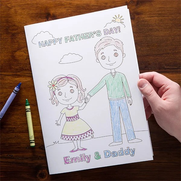 Cut a square from the contact paper, and tape it to the cutting mat. Personalized Father S Day Cards Daddy Me Coloring Card