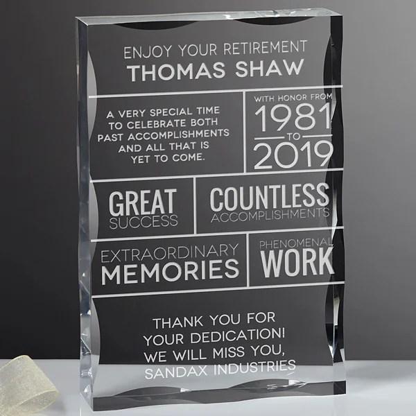 retirement wishes personalized keepsake