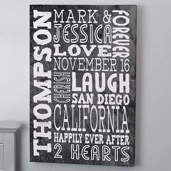 personalized word art canvas