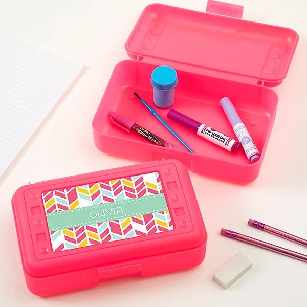 pink personalized pencil box