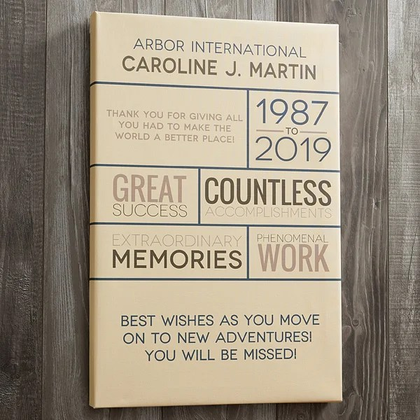 retirement wishes 24x36 personalized