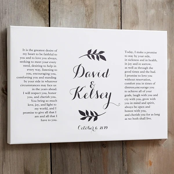 custom wedding vows canvas