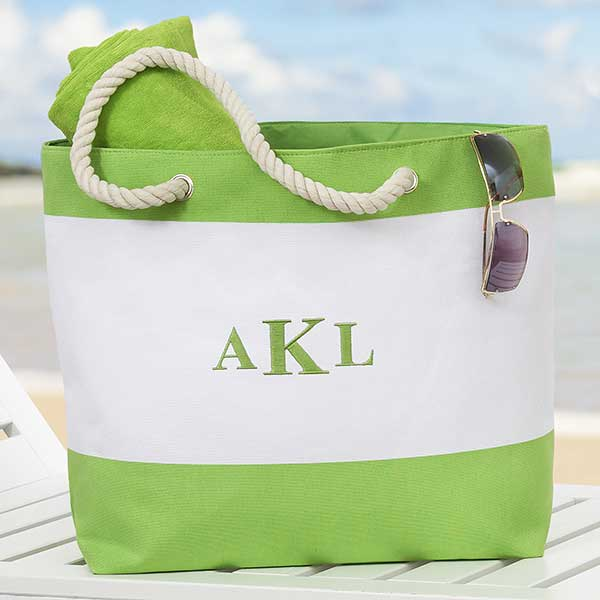 embroidered name beach tote