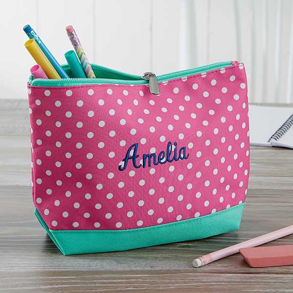 pink polka dot embroidered