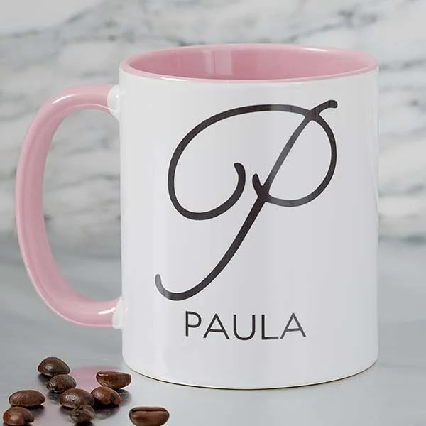 name initial personalized coffee