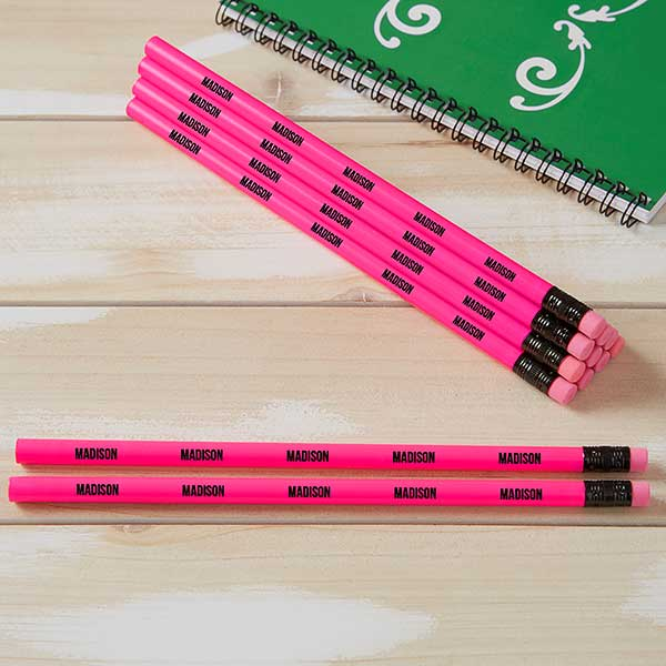neon pink personalized pencil