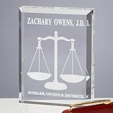 Personalized Scales Of Justice Legal Paperweight - 6036