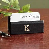 Personalized Desk Business Card Holder - Leather - 8752