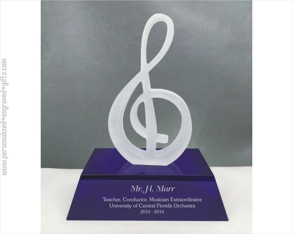 Glass Treble Clef Music Award on Blue Base Custom Engraved