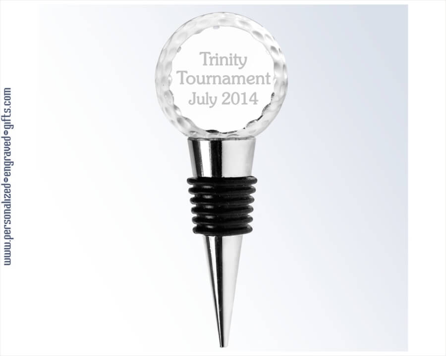 Engraved Crystal Golf Ball Wine Stopper