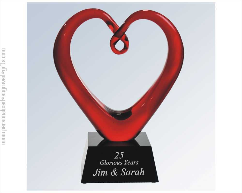One Of A Kind Red Art Glass Heart Award