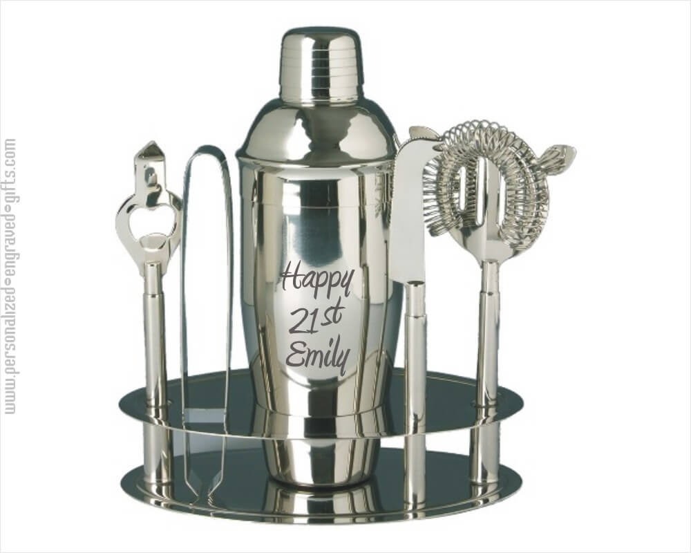 Personalized Stainless Steel Cocktail Shaker Bar Set